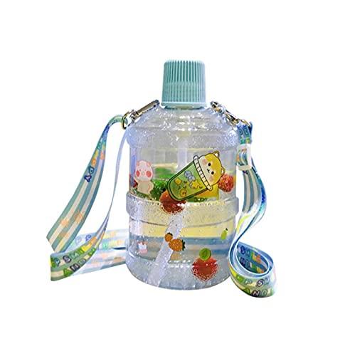JUYIXIAN botella agua de deportiva motivacional con marcador tiempo botellas 2 litros deporte cristal cantimplora azul 1200ML