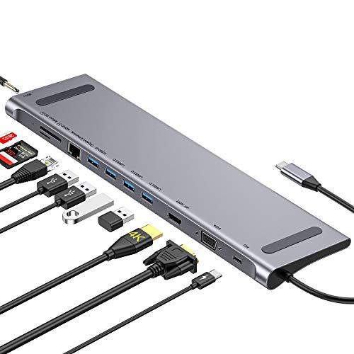 GIKERSY USB C Hub USB C Docking Station Adapter mit VGAHDMI 4KEthernet4 USB 30 Type C PDMicroSDSD Kartenleser35mm MicAudio kompatibel fur MacBook Pro 201820172016 und Mehr Type C Gerate