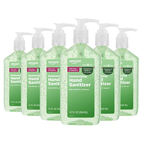 Amazon Basic Care - Aloe Hand Sanitizer 62%, 12 Fluid Ounce (Pack of 6)