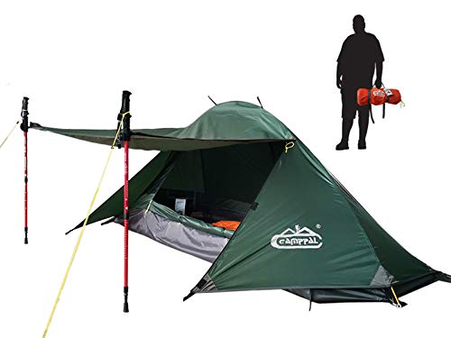 camppal 1 Person Tent Backpacking Camping Hiking Mountain Tent Lightweight and Waterproof for 4 Season Extreme Space Saving Single Bracket (MT051) (Army Green)