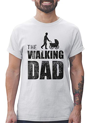 Shirtracer The Walking Dad Herren T-Shirt und Männer Tshirt (M, Weiß)