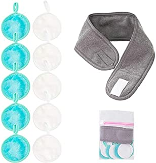 Nugilla Makeup Remover Pads with Head Bands,10 Pack 2 Layers 3.74 Inch Reusable Microfiber Cleansing Pad, One Grey Head band with Laundry Bag Suitable for All Skin Types,Facial Cleansing and Band Kit