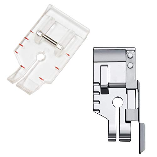 1/4'' Quilting Patchwork Sewing Machine Presser Foot with Edge Guide, 1/4 Inch Clear View Quilting Presser Foot, Fit for Singer Brother Babylock Janome Simplicity Low Shank Sewing Machine(2pcs)