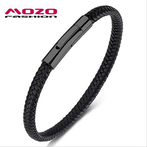 NJSDDB SH501-H Herenarmband, zwart leer, touw, gevlochten armband, eenvoudige stijl, punk, mannen, klassieke sieraden, binnenomtrek 185 mm