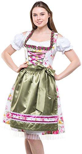 Bavarian Clothes Dirndl Damen Grün Rosa Trachtenkleid 3 teilig '7020' Midi Dirndl mit Dirndlbluse und Bestickter Dirndlschürze (Größe 40)