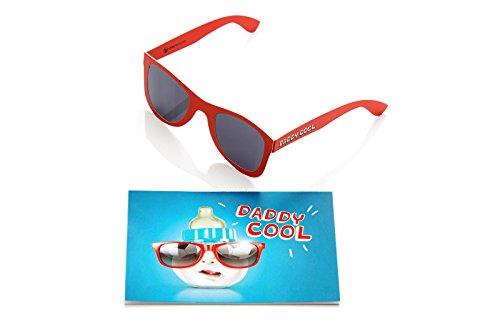 Juego de 2 tarjetas divertidas y divertidas para papá por nacimiento con gafas de sol, tarjeta de felicitación para nacimiento, color azul y rojo, divertidas, divertidas y frescas, SUN09