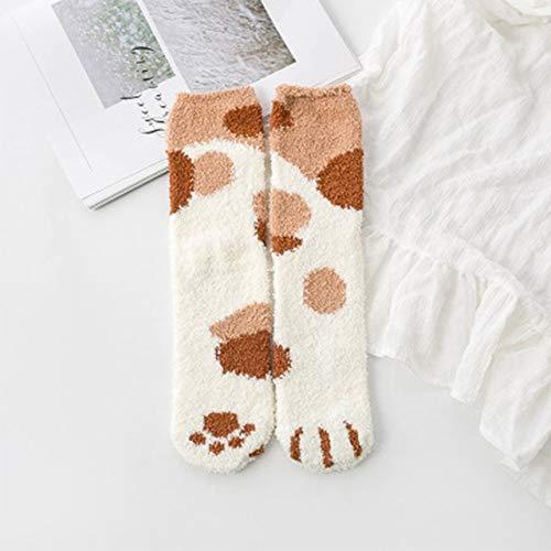 2 Pares de Calcetines de algodón Invierno Divertido Estampado Gato Pata Calcetines cálidos Kawaii Lindo Casual Feliz diseñador de Moda Calcetines Hombres y Mujeres-Dot Khaki Socks-One Size