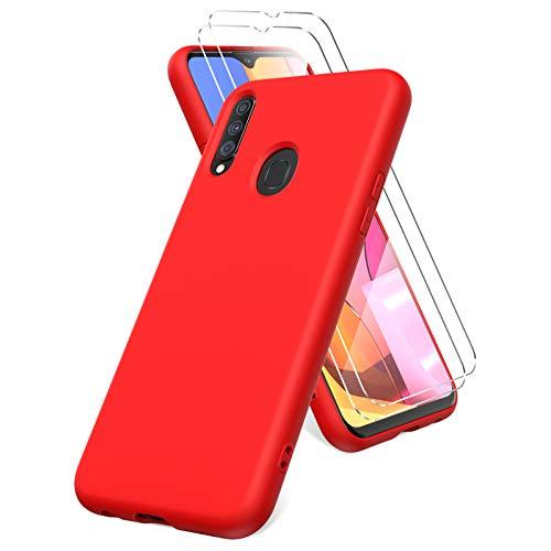Oududianzi Cover per Samsung Galaxy A20s, 2 Pellicola Protettiva in Vetro Temperato, Gomma Gel di Silicone Liquida Antiurto Custodia - Rosso