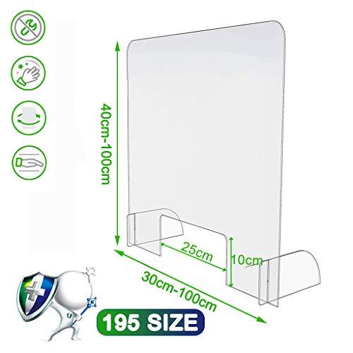Aiyaoo Plexiglasscheibe, Niesschutz Thekenaufsatz, Plexiglas Schutzwand Theke, Schutz vor Viren kompakt leicht geeignet für Apotheken Arzt, 95x45cm(BxH)