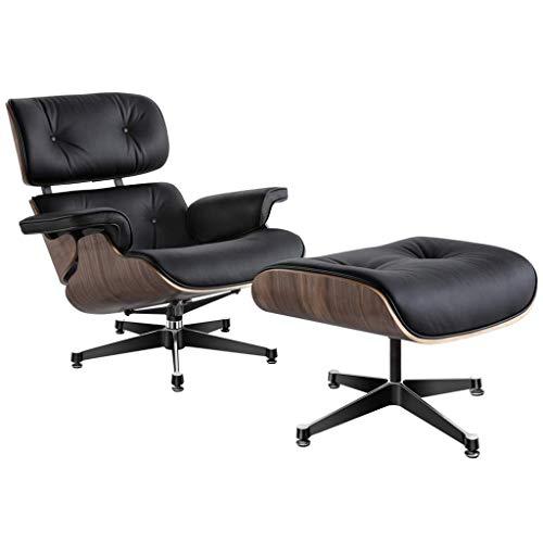 FGDSA Lounge Chair Mit Ottomane, Mid Century Lounge Chair Und Ottoman Indoor Living Room Recliner Klassischer Drehstuhl Premium Kunstleder