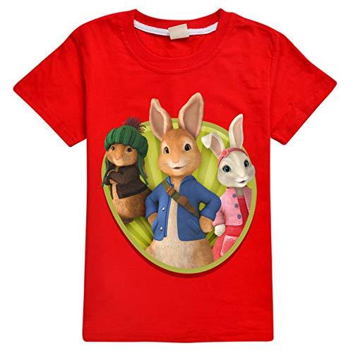 Wasdjkge Peter Rabbit Camiseta Cómodo clásico con Dibujos de impresión Camiseta Cuello Redondo Libre Tapa Floja niños y niñas