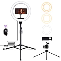 ☀【Dimmable Ring Light】:Our light featuring 3 color lighting modes : Warm Light (3000K), Cool White (4500K) and Day light (6000K) and each mode has 10 brightness levels to meet your needs in all environments. It's a perfect choice for video shooting/T...