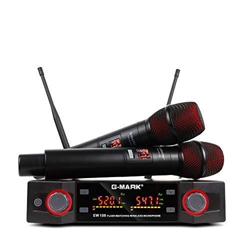 Mikrofon singen G-MARK EW100 funkmikrofon set dynamisches Mikrofon Frequenz einstellbar Party Speech Band DJ Studio