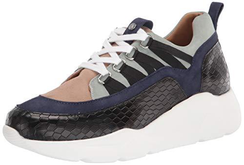 Aquatalia womens Classic Low Top Sneaker, Black/Indigo/Sky, 6 US