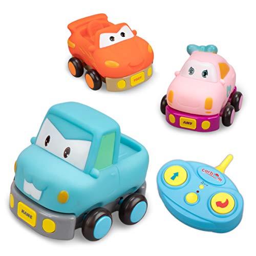 Kane, juguetes bebe 18 meses o más, coche teledirigido con música y luces, coches para bebes, juguete niño 2 años, resistente y robusto (Azul)