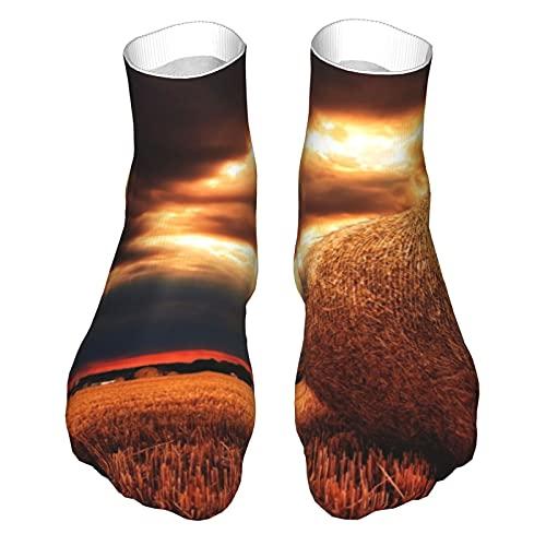 OUYouDeFangA Hay Strohballen Harvest Socken für Erwachsene, Baumwolle, lustige kurze Socken für Yoga, Wandern, Radfahren, Laufen, Fußball, Sport