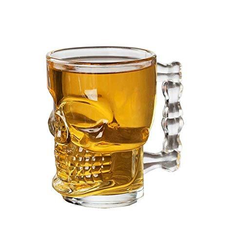 PRICEKILLER® - Jarra de cerveza de calavera de 500 ml para fiestas de cristal con calaveras y eventos