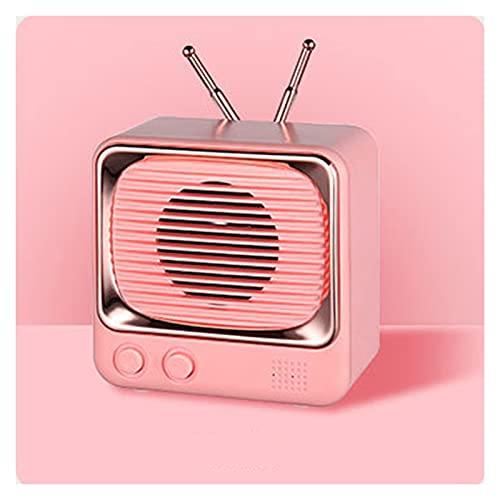 SCYMYBH Altavoz Bluetooth, altavoz Bluetooth portátil, volumen fuerte, sonido estéreo, diseño retro de moda, altavoz inalámbrico con función de radio TF (color: rosa)