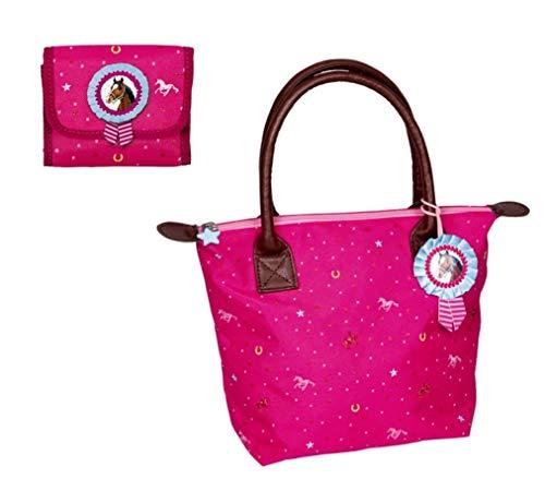 Familando Spiegelburg Pferdefreunde Hand-Tasche Pink mit passendem Geldbeutel im Set für Mädchen