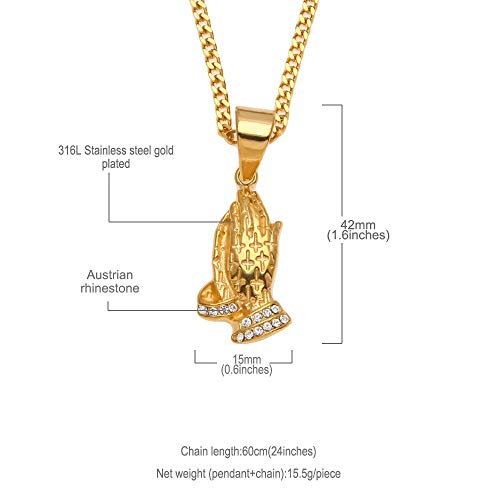 GYXYZB Hip Hop RVS Gebed Charme Hanger Ketting Iced Out Crystal Praying Handen Met Kruis Religieuze Ketting Voor Mannen