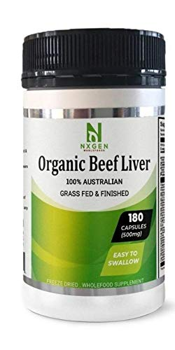 Grass-Fed Beef Liver, Un-Defatted, Freeze-Dried, Organic, Australian,180 Gelatin Capsules