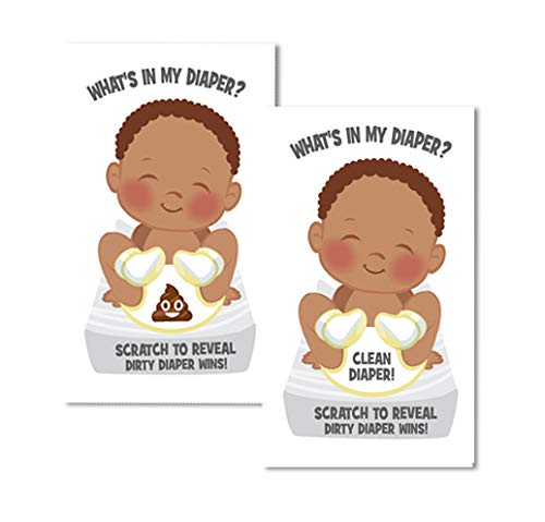 Whats In My Diaper Baby Shower Scratch Off Game   African American   24 Cards - 1 Winner   Baby Shower Games   Baby Shower Prizes   Door Prizes   Diaper Party   Dirty Diaper Game