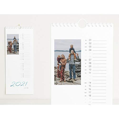 Fotokalender 2021 mit Relieflack, Jahresplaner, Wandkalender mit persönlichen Bildern, Kalender für Digitale Fotos, Spiralbindung, Hochformat 148x360