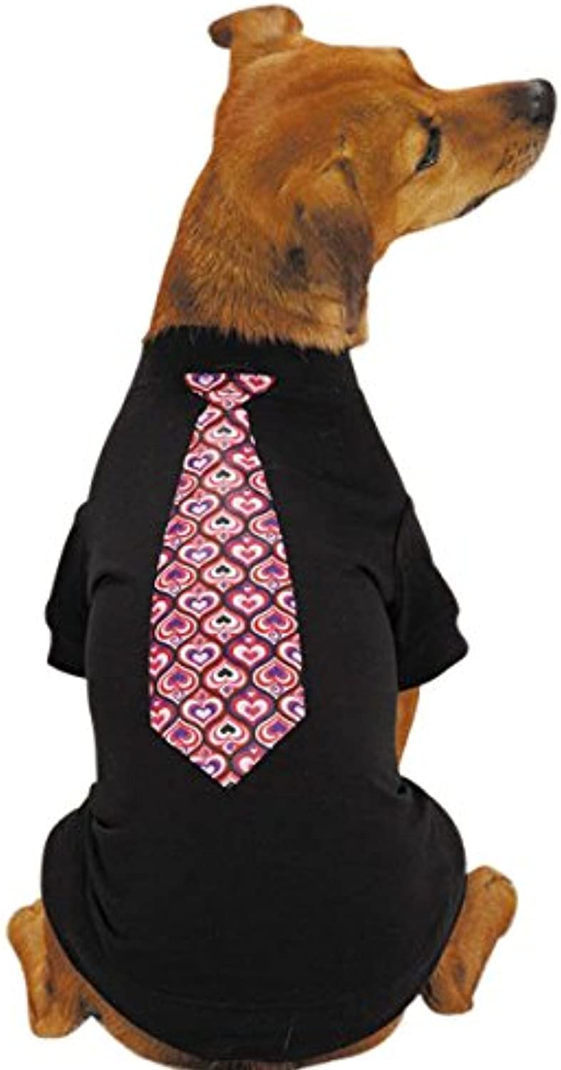 East Side Collection Polyester Cotton Full of Heart Tie Dog Tee, XLarge, Black