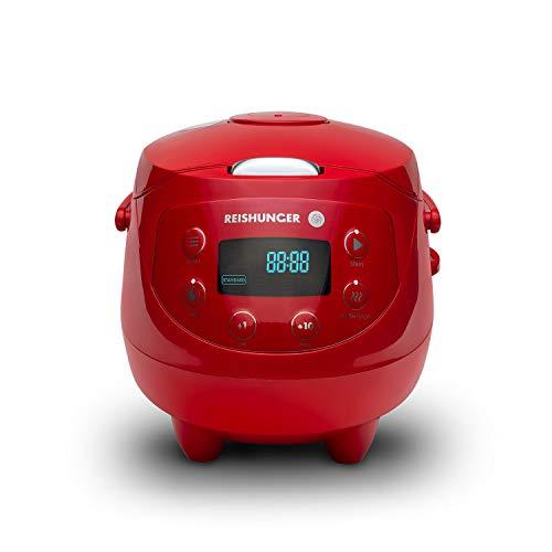 Digitaler Reishunger Mini Reiskocher und Dampfgarer in Rot - Warmhaltefunktion, Timer & Premium Topf - kleiner Multikocher, 8 Programme, 7-Phasen-Kochtechnologie, 1-3 Personen