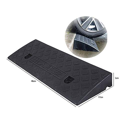 Baiying Rubber Kerb Ramps Bicycle Wheelchair Threshold Portable Car Ramp Buttonhole Design PVC Non-Slip Easy to Install, 6 Sizes (Color : Black, Size : 48X17X5CM)