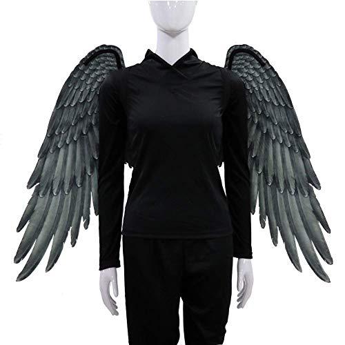 Alas de hadas, pluma de impresión 3D extra grande Alas de ángel de hadas de Halloween para niños Alas de ángel adultas Disfraces Pluma de hadas para accesorios de fiesta de Halloween (Negro , Adultos)