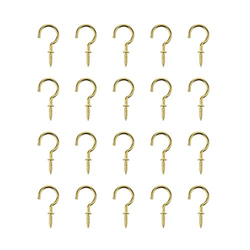 20Pcs/set 1/2' 5/8' 3/4' 7/8' Inches Heavy Screw High Quality Cup Hook Brass Plated Wall Hanging Hanger Shouldered Screw Hooks (Color : Gold, Size : 5 8 inch)