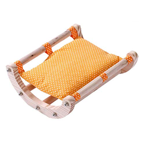 Basage Guinea Pig Bed Hedgehog House Pad Rabbit Bunny Bed Toy Cage Accessories Chair Shaker Wooden Detachable Frame(Orange)
