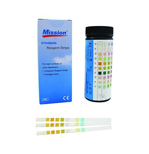 Swiss Point Of Care Mission Urinalysis 10 Felder Urin Teststreifen | zur Messung von Glucose, Bilirubin, Ketone, spezifisches Gewicht (SG), Blut, pH Wert, Protein, Urobilinogen, Nitrit, Leucocyten
