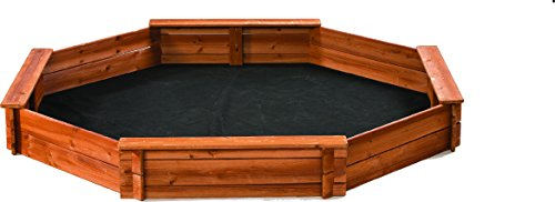 Octagon Wooden Cedar Sand box w Seat Boards | Eco-Friendly Cover & Ground Liner | 84' X 78' x 9' | 3/4' Cedar Boards | Easy DIY Assembly | Holds 800+ lbs of Sand | Natural Cedar Beauty Built To Last