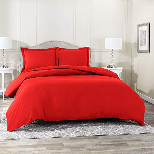 Nestl Bedding Duvet Cover 3 Piece Set – Ultra Soft Double Brushed Microfiber Hotel Collection – Comforter Cover with Button Closure and 2 Pillow Shams, Cherry Red - California King 98'x104'