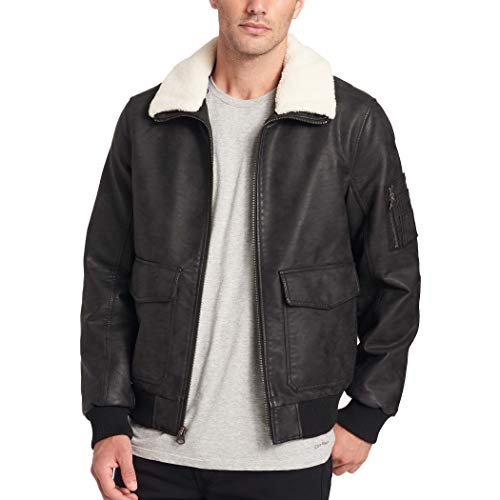 Dockers Men's Maverick Faux Leather Sherpa Collar Aviator Bomber Jacket, Black, Medium