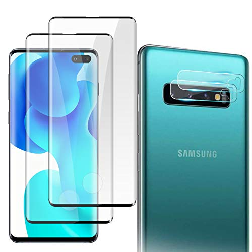 [2+2 Pack] Galaxy S10 Plus Screen Protector Tempered Glass, Fingerprint Sensor Compatible, Bubble-Free, 3D Curved, Scratch-Resistant Compatible with Samsung S10 Plus Screen Protector