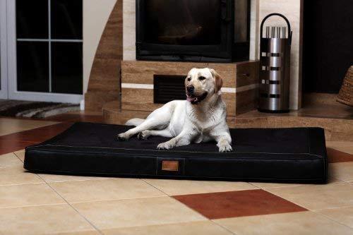 tierlando Oscar VIP Ortho Hundematratze Kunstleder Velours Orthopädisches Hundebett VISCO Größe: OS6 150cm | Farbe: AL-03 Schwarz