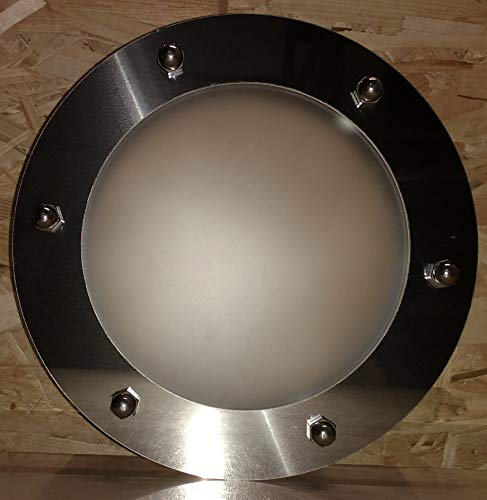 Ojo de buey para puerta plana INOX 230 mm vidrio mate tuercas acoplamiento