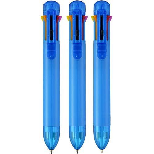 Notrash2003 - Juego de 3 bolígrafos con mecanismo de clic (8 colores de tinta), color rosa, amarillo, rojo, azul, verde o blanco