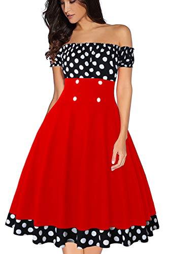 Axoe Damen Pünktchenkleid 50er Jhare Vintage Kleid Schulterfrei Schwarz mit Rot Gr.38