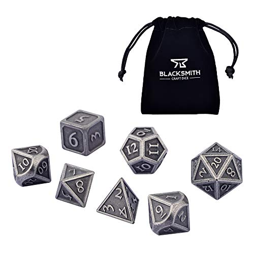 Blacksmith Craft Dice DND Dice Set 7 PCS - Metal Dungeons and Dragons Polyhedral Dice Set with D&D Dice Bag for RPG Gaming - Includes D20 - Blacksmith Craft Dice (Weathered Iron)