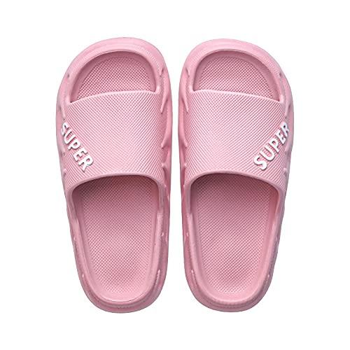 NUGKPRT chanclas,Zapatillas de casa para mujer, sandalias de verano antideslizantes para interior, sandalias de baño, zapatos planos de EVA, chanclas de ducha para hombres y mujeres, 39-40 rosa