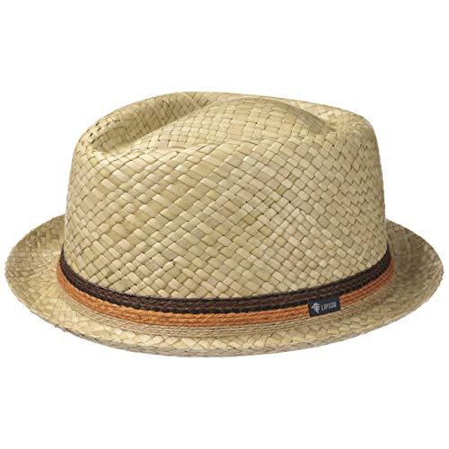 Lipodo Diamond Crown Strohhut Damen und Herren - Sonnenhut Made in Italy - Hut aus 100% Stroh - Pork Pie für Frühjahr/Sommer Natur M (56-57 cm)