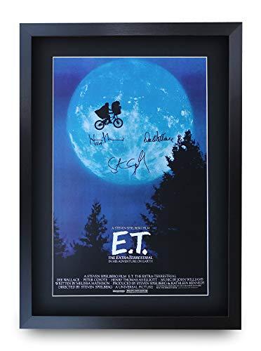 HWC Trading E.T. The Extra-Terrestrial A3 Enmarcado Regalo De Visualización De Fotos De Impresión De Imagen Impresa Autógrafo Firmado por Los Aficionados Al Cine