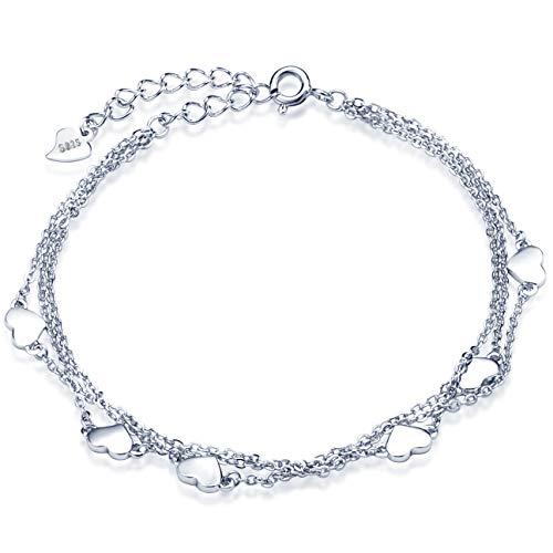Unendlich U Klassisch Herzen Damen Strangarmbänder 925 Sterling Silber Armkette Verstellbar Charm-Armband Armkettchen Armreif