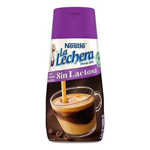 Nestlé La Lechera Leche condensada desnatada sin lactosa - Botella de leche condensada desnatada sin lactosa Sirve Fácil - Caja de 8 x 450 g