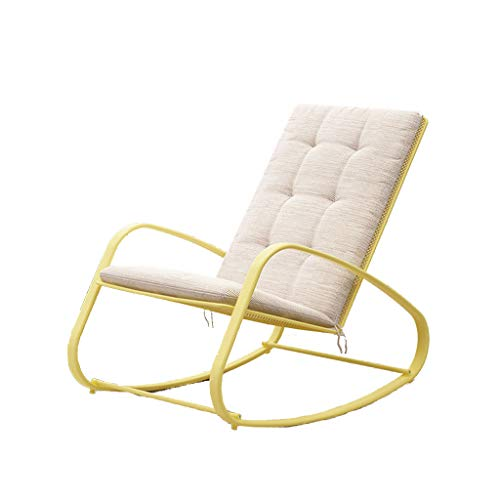 XBD Terraza Mecedora, Hierro Forjado Cojín Lavable Relax Tumbona Home (Color : B(Yellow with White...
