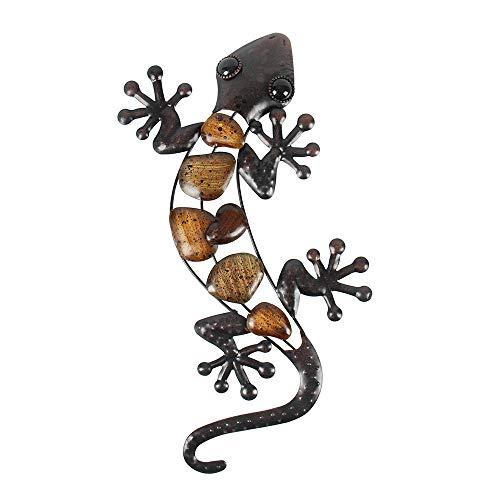 Liffy Home Lizard - Decoración de Pared para Colgar, Metal, Cristal, decoración de Pared, para Colgar en Interiores o al Aire Libre